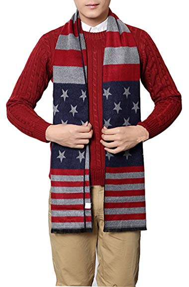 USA Flag Men's Winter Warm Wool Knitted Scarf