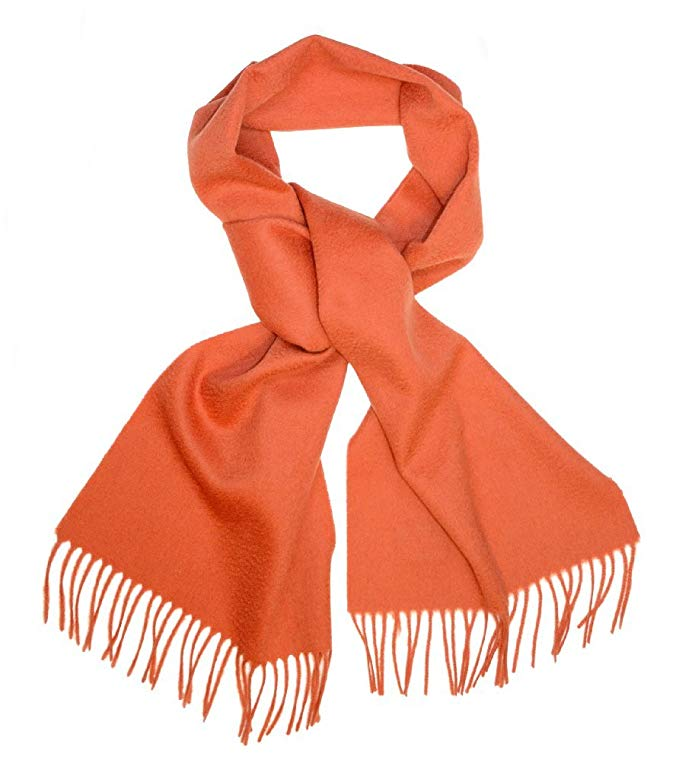Biagio 100% Wool NECK Scarf Solid BURNT ORANGE Color Scarve for Men Women