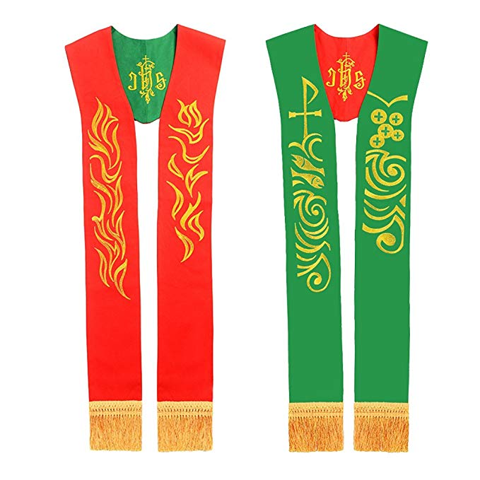 BLESSUME Reversible Stole with Lamb of God Embroidery