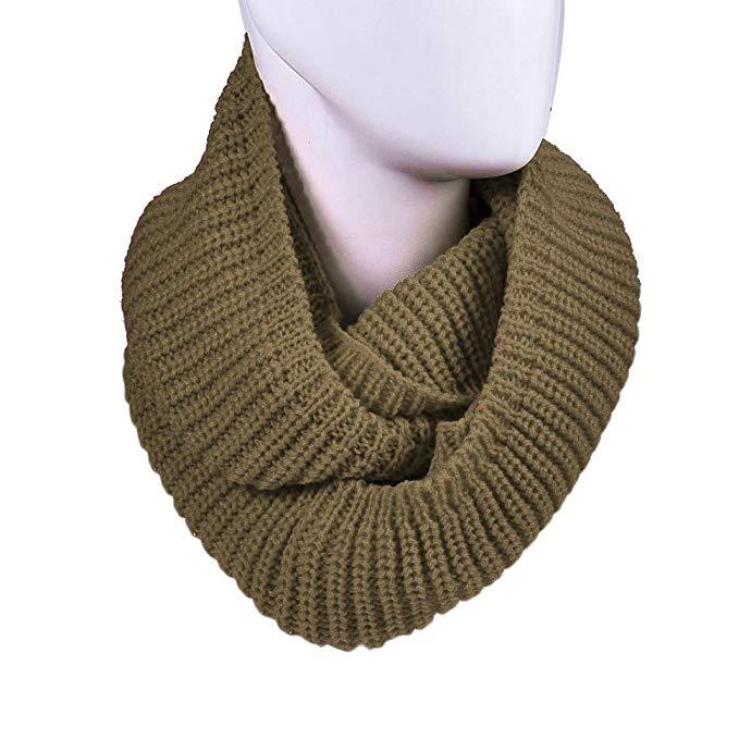 DZT1968 Unisex Girl Knit Round Shawl Wrap Scarf Warmer