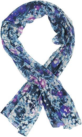 Calvin Klein Women's Wildflower Chiffon Scarf Onesize Blue