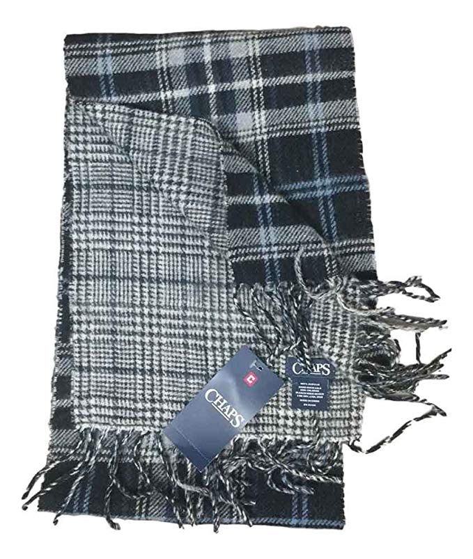 Chaps Unisex Reversible Plaid Black Heather Gray Blue Scarf Knit Fringe One Size