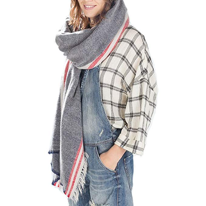 Women's Cozy Tartan Scarf Wrap Shawl Neck Stole Warm Plaid Checked Pashmina