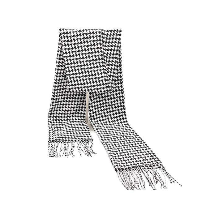 Fashion Black Houndstooth Print Fringe Soft Cashmere Scarf for Men Women