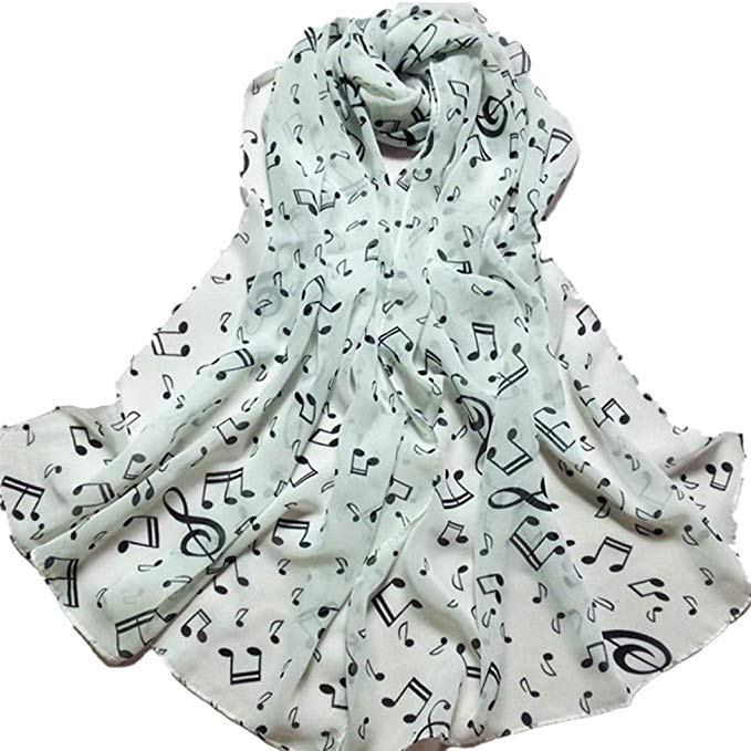 DZT1968® Autumn Winter Women Girl Music Notes Design Long Chiffon Shawl Scarf Pashmina (White)
