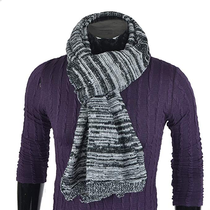 Mens Thick Knitted Plaid Long Winter Scarf Soft Warm Wrap Scarves