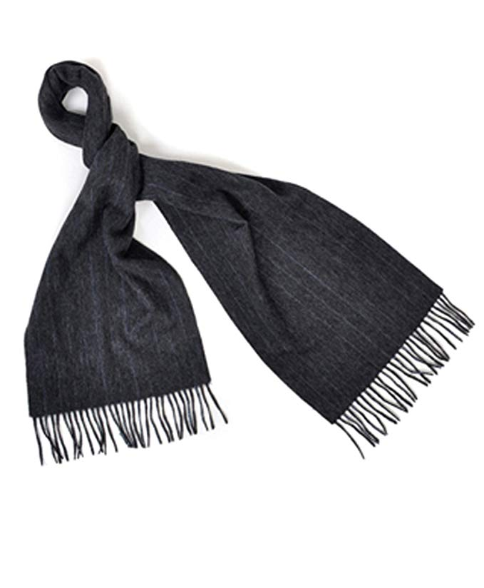 Charcoal & Thin Blue Striped Pattern 100% Wool Unisex Scarf with Tassels