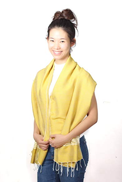 Unique Wrappable Cotton Scarf Luxury Thai Hand-made Cotton Scarves Lightweight (Yellow)
