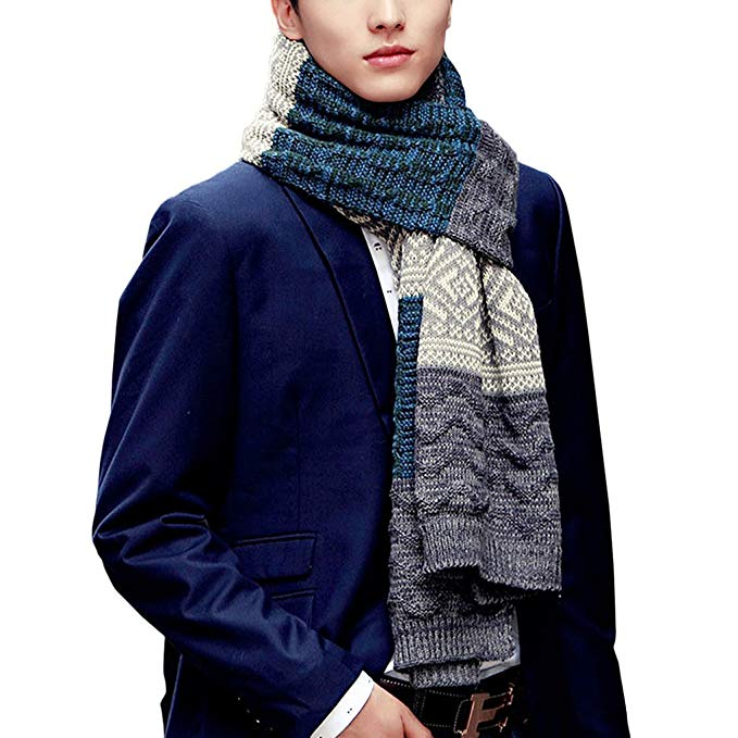 Fashion Mens Striped Aztec Argyle Pattern Winter Neck Warm Wrap Knit Long Scarf Shawl