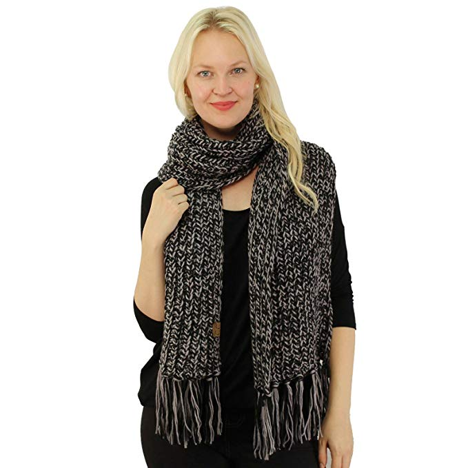 CC 2tone Mix Knit Soft Super Chunky Thick Long Big Large Cowl Fringe Scarf