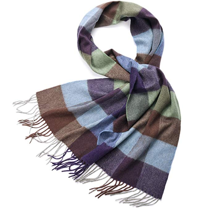 Cashmere Winter Scarf Women Mens-ZORJAR Pure Cashmere Plaid Shawl Long Wrap For Shawls and Wraps,Warm,Soft 65