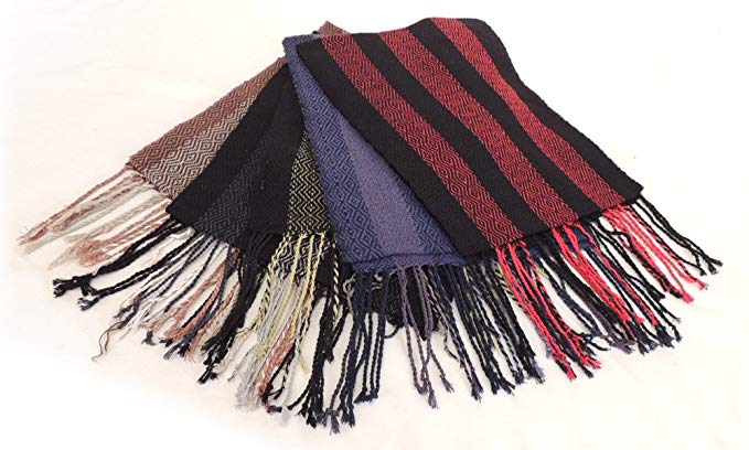 100% Alpaca Hand Woven Scarf Two Tone 10