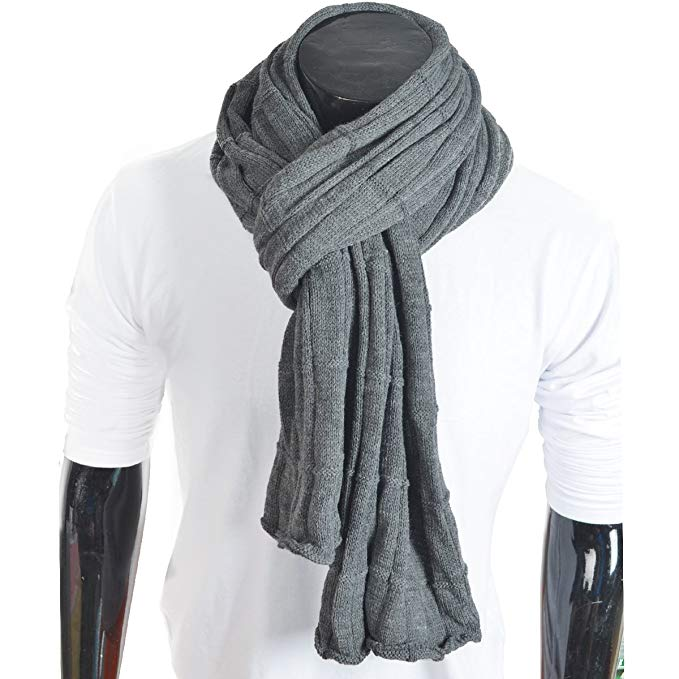 Trendy Men Turnup Knitted Designer Winter Scarf (Dark Gray)