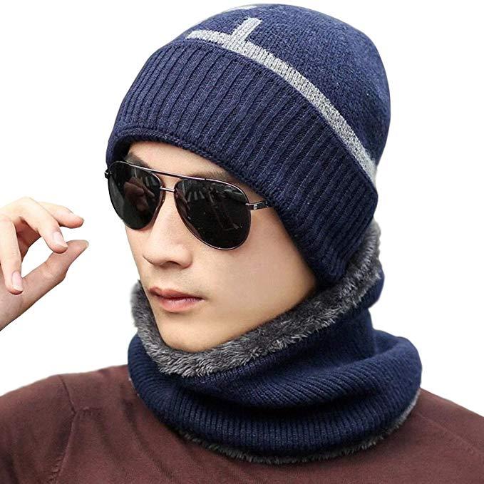 JOYEBUY Men's Warm Winter Knit Hat Thick Hat Soft Beanie Hat Scarf Set