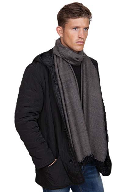 Mens Merino Wool Heritage Herringbone Scarf
