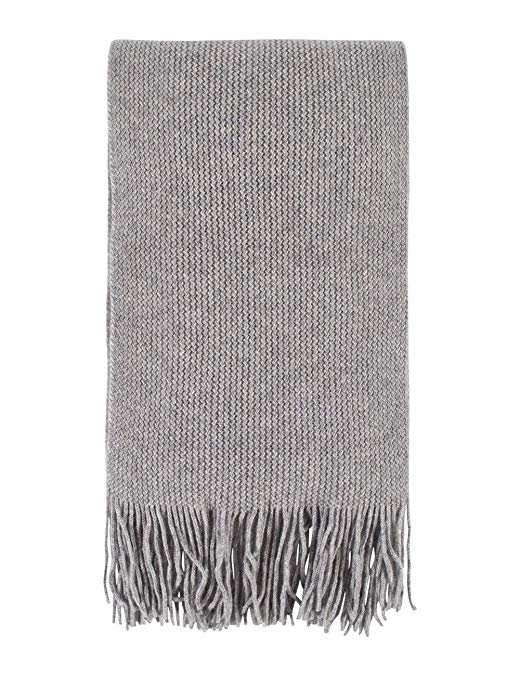 Great and British Knitwear Unisex 100% Cashmere Scarf with Fringe. Made in Scotland