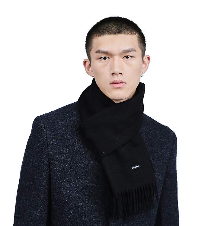 Men's Merino Wool Blend Solid Scarves Cashmere Feel Scarf with Fringe