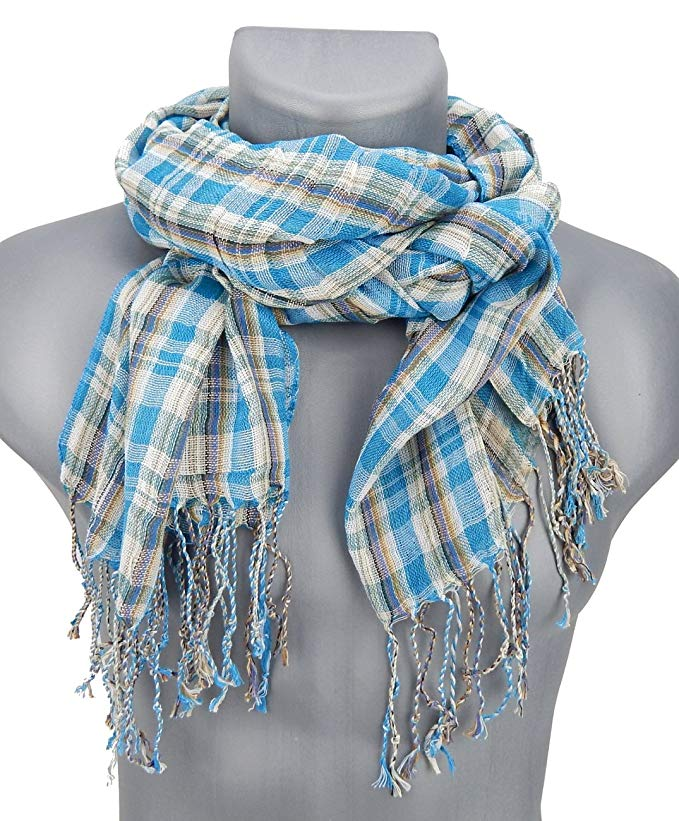 Ella Jonte mens scarf turquoise brown checkered
