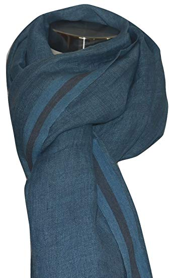 Hand Spun, Handwoven Shorty Weave Pure Linen Fabric Triple Stripe edge Scarf. X1425