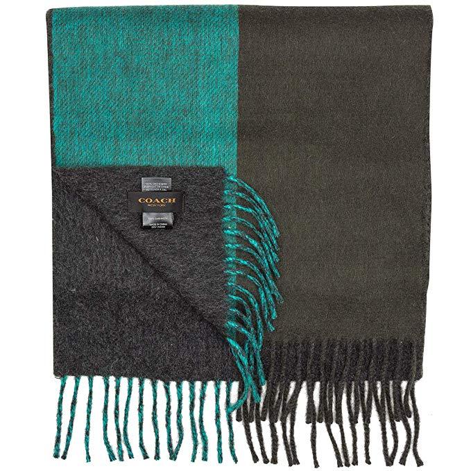 Mens COACH 100% cashmere reversible winter scarf