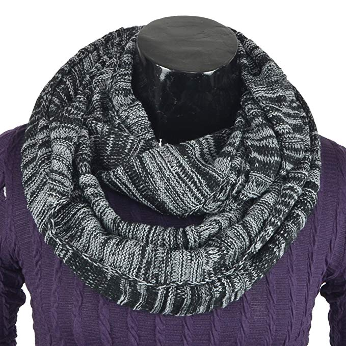 Stylish Men Cable Soft Knit Winter Infinity Circle Loop Scarf