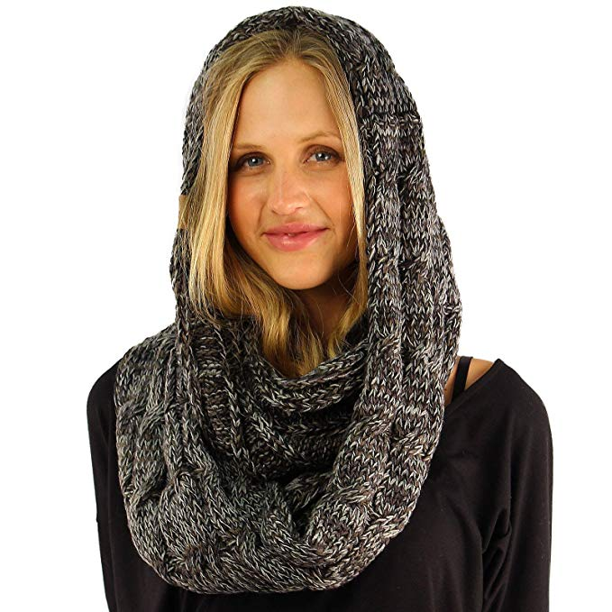 CC Quad Soft Chunky Warm Pullover Knit Long Infinity Hood Cowl Loop Scarf