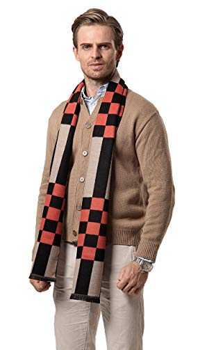 Runtlly Men's Super Soft Plaid Scarf Cashmere Feel Autumn Winter Scarves