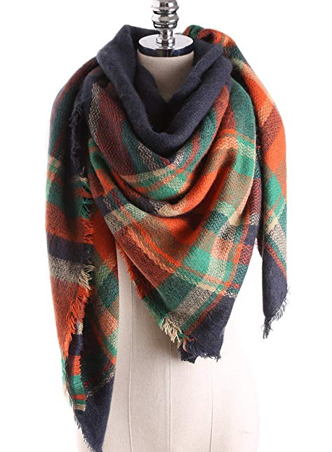 Women's Large Scarf Shawl Plaid Tartan Checked Blanket Wrap(5555in,Tartan1)