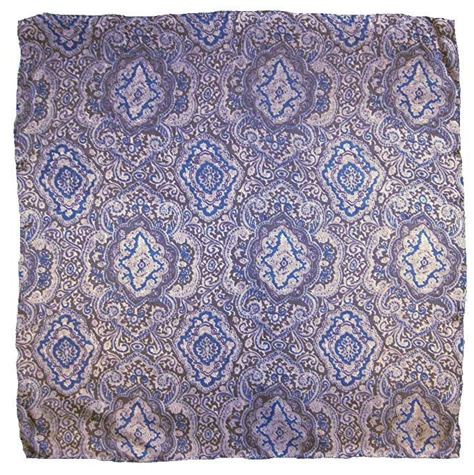 Wyoming Traders Mens Paisley Silk Wild Rag Scarf Blue/Silver Multi