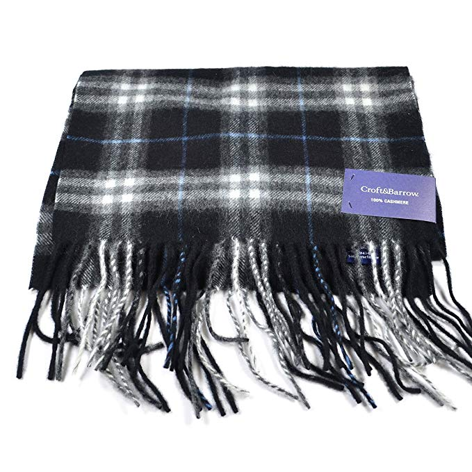 Croft & Barrow Plaid Cashmere Fringed Ends Scarf for Men