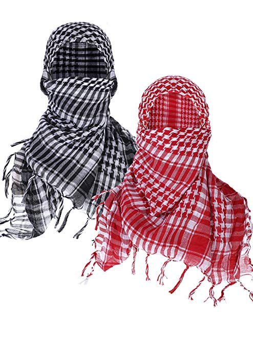 Boao 2 Pieces Keffiyeh Shemagh Arab Scarf Wrap Tactical Desert Scarf Cotton Head Wrap