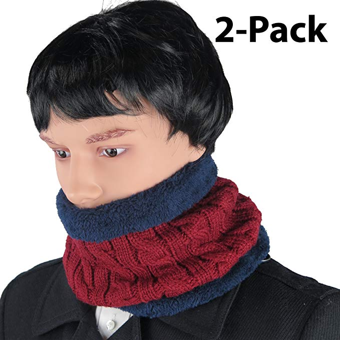 Knit Neck Warmer for Men Women, Thick Cable Knit Loop Scarf Fur Lined 2-Pack By Debra Weitzner
