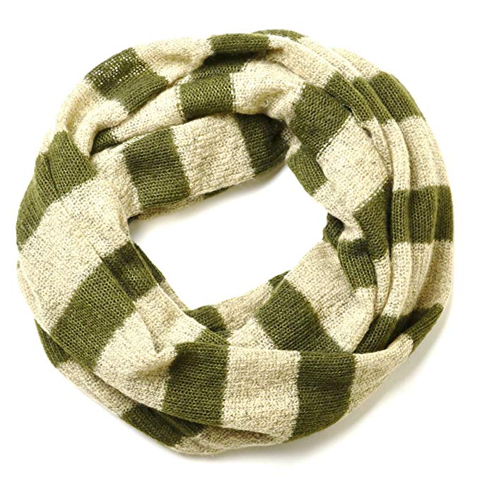 Olive Green Striped Knitted Chunky Infinity Loop Circle Scarf Unisex