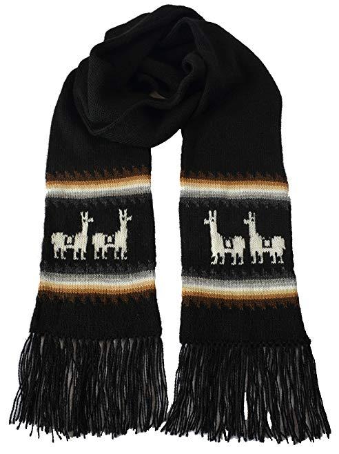 Gamboa Black Llamitas Men Women Unisex Alpaca Scarf