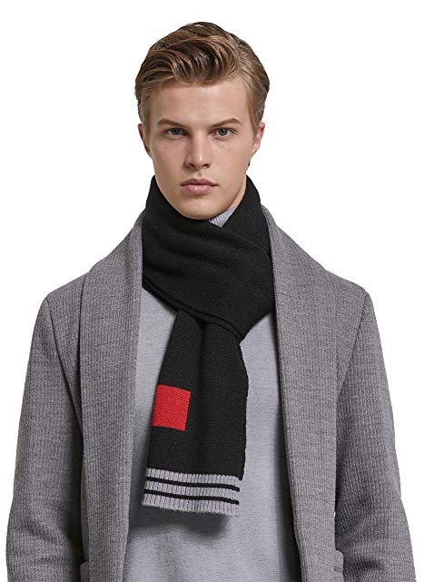 RIONA Men's Winter Cashmere Feel Australian Merino Wool Soft Warm Knitted Scarf Striped Long Scarves with Gift Box