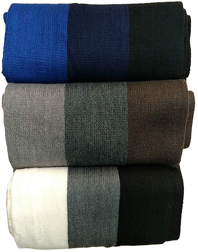 Yacht&Smith 3 Pack Mens Designer Winter Scarves, Stripe Patterned Neck Scarf